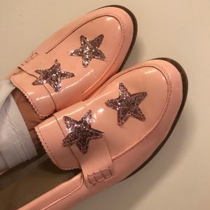 NEVER WORN Nasty Gal Pink star loafers